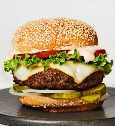 Muenster Burgers with Sriracha Special Sauce. Pro tip: Make extra special sauce for sandwiches, chicken tenders, onion rings, and more. Burger Recipes, Sauce Recipes, Grill Recipes, Chef Recipes, Dinner Recipes, Special Sauce Recipe, Shrimp Rolls, Lobster Rolls, Sandwich Sauces