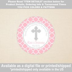 Christening Favor Stickers Baptism Favor by WithEnvyParties