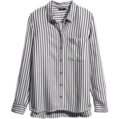 H&M Striped blouse (61 DKK) ❤ liked on Polyvore featuring tops, blouses, shirts, long sleeves, striped shirt, rayon shirts, h&m shirts, longsleeve shirt and slit shirt