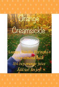 Herbalife Shake recipe using Vanilla Formula 1 - Orange creamsickle! Vanilla Shake Recipes, Protein Shake Recipes, Protein Shakes, Tea Recipes, Herbalife Recipes, Herbalife Nutrition, Healthy Smoothies, Healthy Drinks, Blender Bottle Recipes