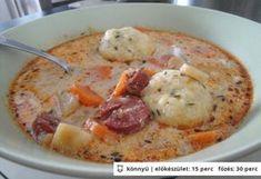Kolbászos krumpligombóc-leves