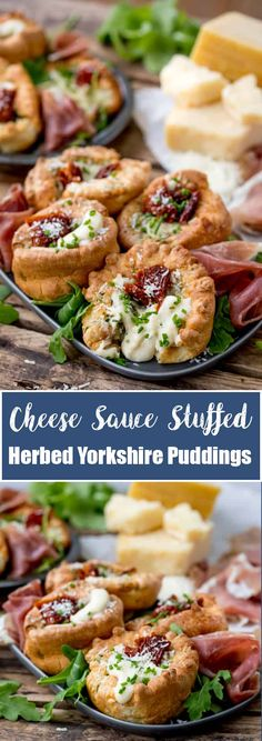 No longer a side dish, make Yorkshire Puddings the main event with these herby Yorkshire puddings, filled with cheesy béchamel and sunblush tomatoes! Yorkshire Pudding Appetizers, Yorkshire Pudding Filling, How To Make Yorkshire Pudding, Yorkshire Pudding Starter, Side Dish Recipes, Easy Dinner Recipes, Appetizer Recipes, Side Dishes, Snack Recipes