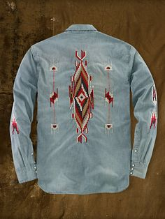 Denim & Supply Ralph Lauren Blue Embroidered Western Shirt for men Jeans Material, Western Outfits, Western Shirts, Embroidered Denim Shirt, Vintage Leather Jacket, Vintage Denim, Denim Shirt Men, Denim And Supply, Casual Shirts For Men