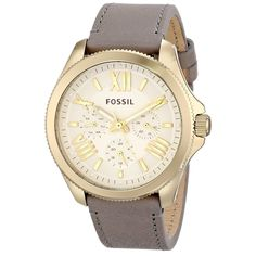 This elegant women's watch from Fossil is crafted with a goldtone stainless steel case and a soft grey leather strap. The beige dial houses goldtone Roman numerals and stick indices, while the precise quartz movement keeps accurate time.