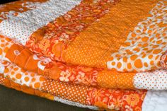 another view of awesome orange quilt! I must do an orange strip quilt soon. Quilting Tips, Quilting Projects, Orange Quilt, Orange Country, Striped Quilt, Orange You Glad, Stuffed Animal Patterns, Happy Colors, My Favorite Color