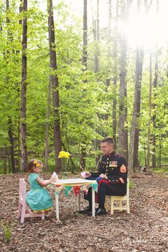 Father and Daughter USMC Tea Party By Kelly Edylene Photography /Fawn Over Baby
