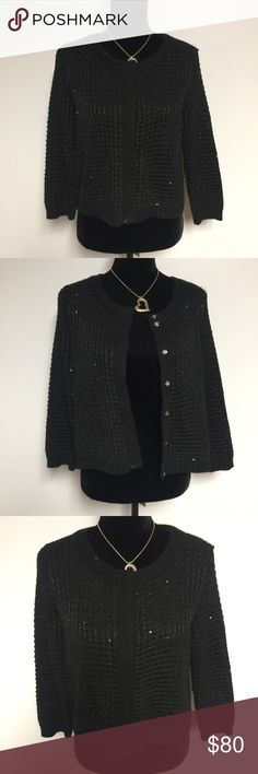 Black knitted sequence cardigan ▪️Sequence cardigan  ▪️super cute and matches with everything  ▪️cute pretty silver buttons ▪️Women's size large  ▪️great easy snap buttons for closure ▪️excellent condition  ▪️comes from a smoke/ pet free home  ✅FAST SHIPPING✅ 💗Make offers💗 Sweaters Cardigans