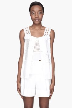 Marc Jacobs White Embroidered Pleated Tank-top for women | SSENSE $925.00 onsale for $278.00