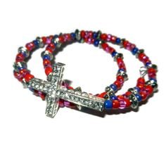 Pink Purple and Coral Wrap Crystal Cross by CloudNineDesignz