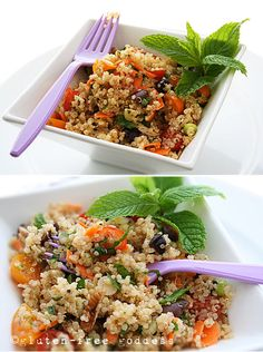 A light and fresh summer quinoa salad with mint and olives... #glutenfree #quinoa #vegan