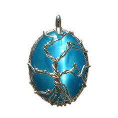 Tree of Life. Handcrafted Pendant. Fused branches on textured frame and cabochon encased. Choice of colors and stones! Ethical craftsmanship by French artisan jewelry designer Elisabeth DeCaprio