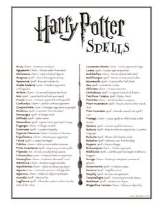 harry potter list of spells