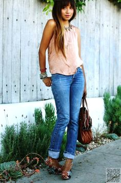 19. With #Silky Tops - 20 Stylish Ways to Wear #Jeans ... → #Fashion #Stiletto