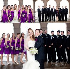 love the shade of purple of the bridesmaids dresses!