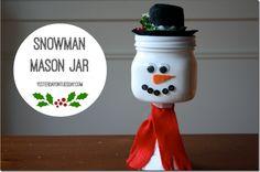 Snowman Mason Jar Candy Jar
