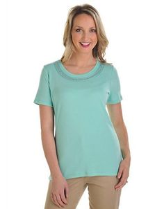 ALLISON DALEY Scoop Neck Top With Hotfix