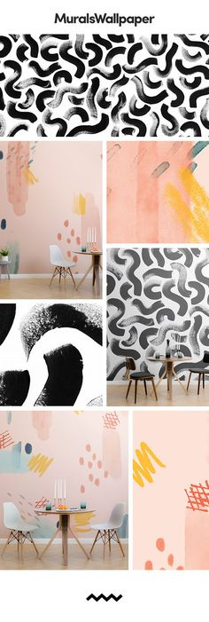 Create an amazingly unique dining room with … – Wall Pictures Dining Room Wallpaper, Book Wallpaper, Painting Wallpaper, Dining Room Walls, Geometric Designs, Designer Wallpaper, Wall Murals, Room Decor, Diners