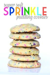 Super Soft Sprinkle Pudding Cookies - Cookies and Cups