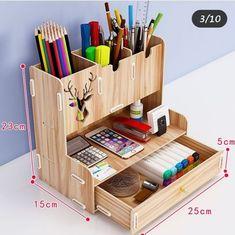 Stationary Storage, Study Room Decor, Desk Organization Diy, Laser Cut Files, Storage Rack, Storage Bins, Craft Stick Crafts, Wooden Diy, Office Decor