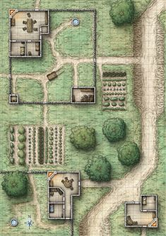 Farmstead layout. (Reavers of Harkenwold; Poster Side 1)