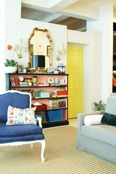 Low Bookcase in Contrasting Colors from Little Green Notebook ..... http://littlegreennotebook.blogspot.com/2011/08/new-shade-for-gg-sconces.html