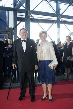 Greek ex-King Constantine and Queen Anne-Marie arrives at the DRs party performance in the Concert Hall on the occasion of the Prince Consort's 80th birthday, 01.06.2014