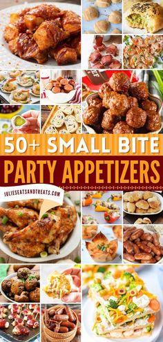 This contains: 50+ SMALL BITE PARTY APPETIZERS, holiday appetizers, Thanksgiving recipes Game Day Appetizers, Christmas Appetizers, Appetizer Recipes, Easy Holiday Recipes, Thanksgiving Recipes, Mouth Watering Food, Christmas Breakfast, Food Lists, Finger Foods