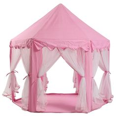 Amazon   Dream Yo キッズプレイテント Kid Indoor Princess Castle Play Tent 子供 用 室内 テント 形が 可愛い キッズテント (2点セット, ピンク)   キッズテント 通販