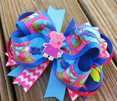 Peppa Pig Boutique Layered Hair Bow by MiaBellaCrafting on Etsy