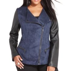 Alfani Woman faux suede & leather moto jacket Gorgeous, polished career jacket that transitions seamlessly from work to cocktails. Midnight blue faux suede with black faux leather sleeves. Pewter toned zippers and hardware. Hip length. Flattering moto shape. NWT; never worn. Alfani Jackets & Coats