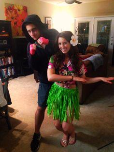 First Halloween together (married) Hawaiian Punch #halloween #costume #couplecostume