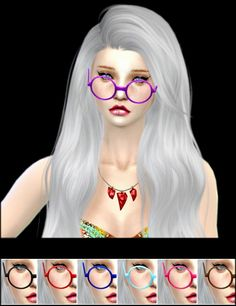 Jenni Sims: Sets of Accessory Glasses and Necklace • Sims 4 Downloads