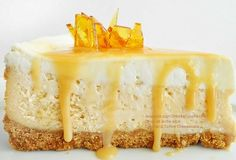From https://www.facebook.com/CheeseCakeRecipe - Baked dulce de leche cheesecake with toffee shards