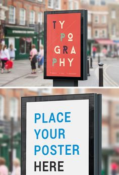 A high quality original mock-up to showcase your artwork or poster as displayed on a street billboard. The PSD file is fully layered and uses smart objects that allow you to easily place your design and have your work done in minutes. Mock Up, Illustrator Design, City Branding, Business Card Psd, Photoshop, Tool Design, Billboard, Street, Joomla Templates