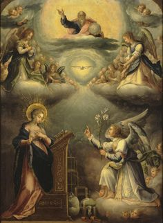 Lessons from the Divine Office of Wednesday Within the Octave of the Immaculate Conception: Luke, Homily on the Annunciation by St. Blessed Mother Mary, Blessed Virgin Mary, Religious Images, Religious Art, Scriptural Rosary, Feast Of The Annunciation, Jesus E Maria, Sainte Marie, Immaculate Conception