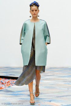 This is a look from Tia Cibani's Spring/Summer 2014 collection. Looks like inspiration came from the dolman coat from the bustle period.