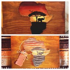 Africa string art over painting. Elephant silhouette against African sunset. Made by Lyndsie and Sallye supporting our mission trip to Belize.