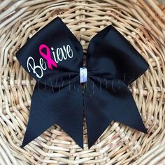 """Breast Cancer Awareness Cheer Bow """"BELIEVE""""- October, awareness, breast cancer… Football Cheerleading, Football Banner, Softball Bows, Cheer Bows, Volleyball, Locker Signs, Cheer Practice, Cheer Camp, Pink Out"""