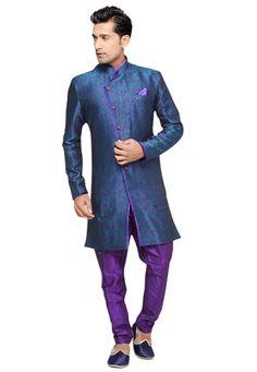 Blue and Purple Art Silk Brocade Readymade Sherwani