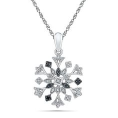 Sterling Silver Round Black and White Diamond in Snowflake Fashion Pendant 0030 cttw >>> Read more reviews of the product by visiting the link on the image.(This is an Amazon affiliate link and I receive a commission for the sales)