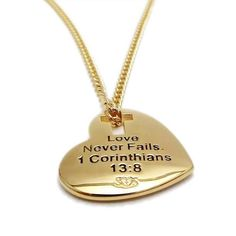 Shields of Strength - Gold Stainless Steel Heart w/Cross Cut Out Necklace-I Corinthians 13:8
