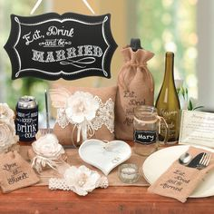 Eat- Drink and Be Married Chalkboard Sign (Lillian Rose WF560) | Buy at Wedding Favors Unlimited (http://www.weddingfavorsunlimited.com/eat_drink_and_be_married_chalkboard_sign.html).