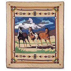 Wild Horses Cotton Throw Quilt