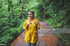 Smiling Young Woman Walking In The Forest After Rain Photography #Ad, , #AFF, #Woman, #Young, #Smiling, #Walking Rain Photography, Business Powerpoint Presentation, Young Women, Walking, Sari, Smile, Stock Photos, Woman, Tops