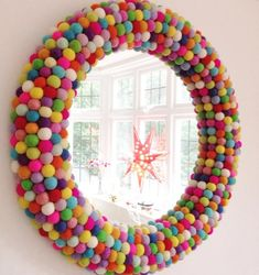 could this be the most colourful one of them all? Pom Pom Rainbow Wall Mirror ideen kinder Storage Ideas For Rooms And Children's Playgrounds - jihanshanum Home Crafts, Diy Home Decor, Diy And Crafts, Room Decor, Kids Rooms Decor, Playroom Wall Decor, Rainbow Bedroom, Rainbow Wall, Rainbow Room Kids