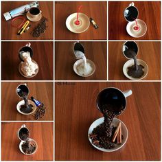 DIY Floating Cup of Coffee Table Decor