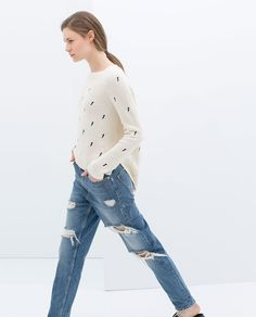 Image 3 of LONG EMBROIDERED SWEATER from Zara