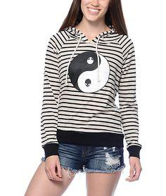 Trillium Ryan Yin Yang Black & Cream Striped Hoodie