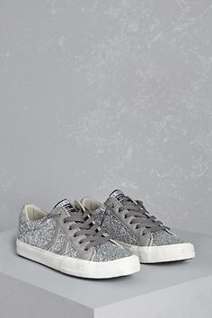 """Forever 21+ - A pair of low-top sneakers by Vintage Havana™ featuring an allover glitter design, faux suede accents, a lace-up front with no self-ties, an almond toe, and a """"vintage"""" embossing on the sole."""