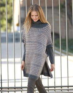 Designs for women by Katia #winter #fall 2014 / 2015 #autumn #textures #knitting #plaid #katiayarns